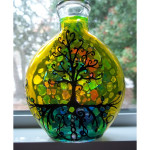Tree of Life Mosaic Glass Design Stained Glass Bottle